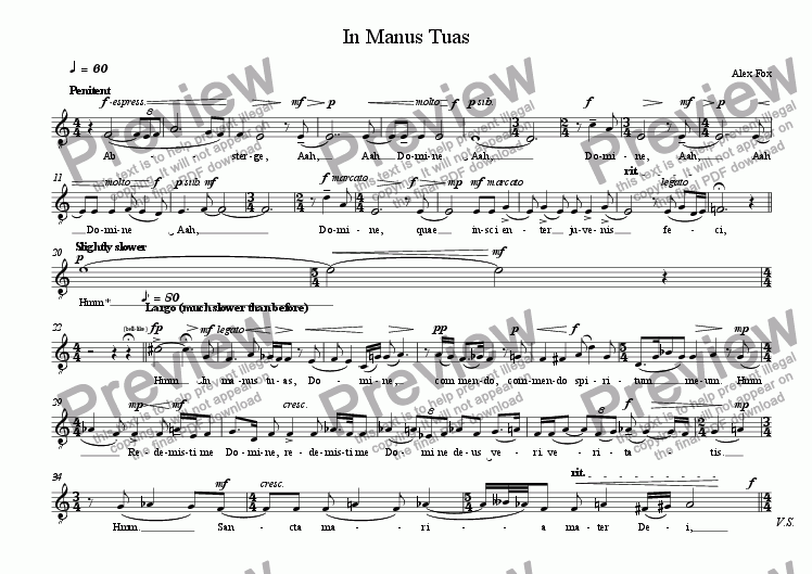 page one of the Tenor part from In Manus Tuas