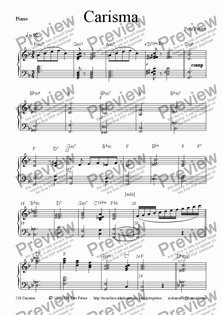 page one of the Piano part from Carisma