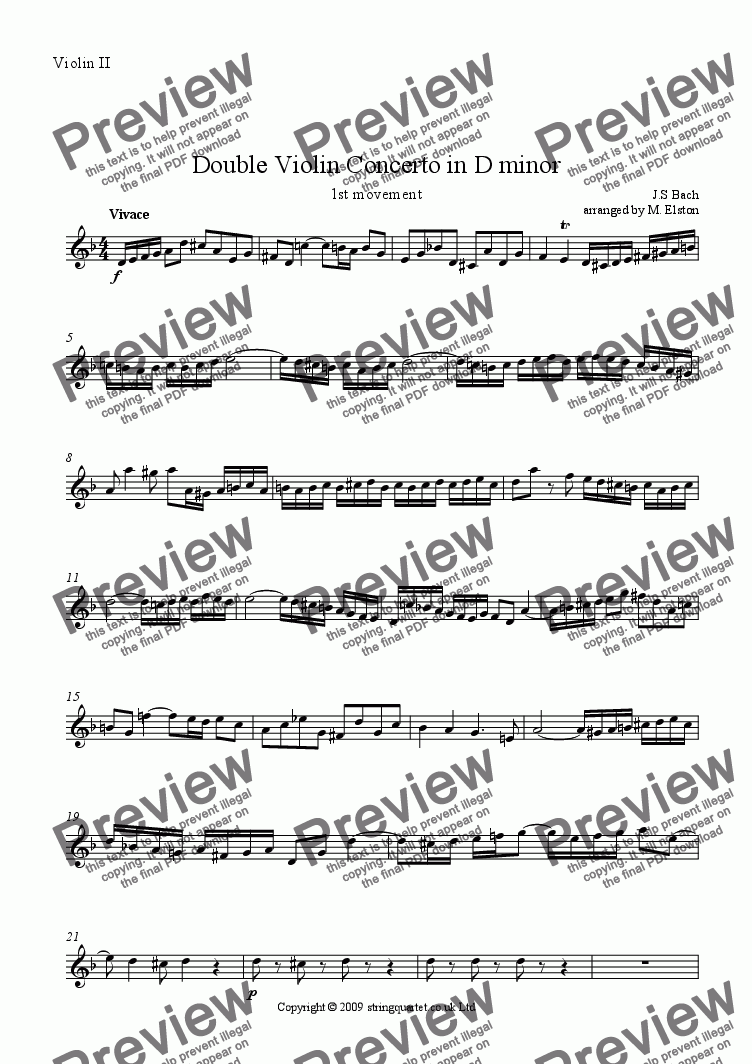 page one of the Violin II part from Double Violin Concerto in D minor BWV 1043 (1st movement)