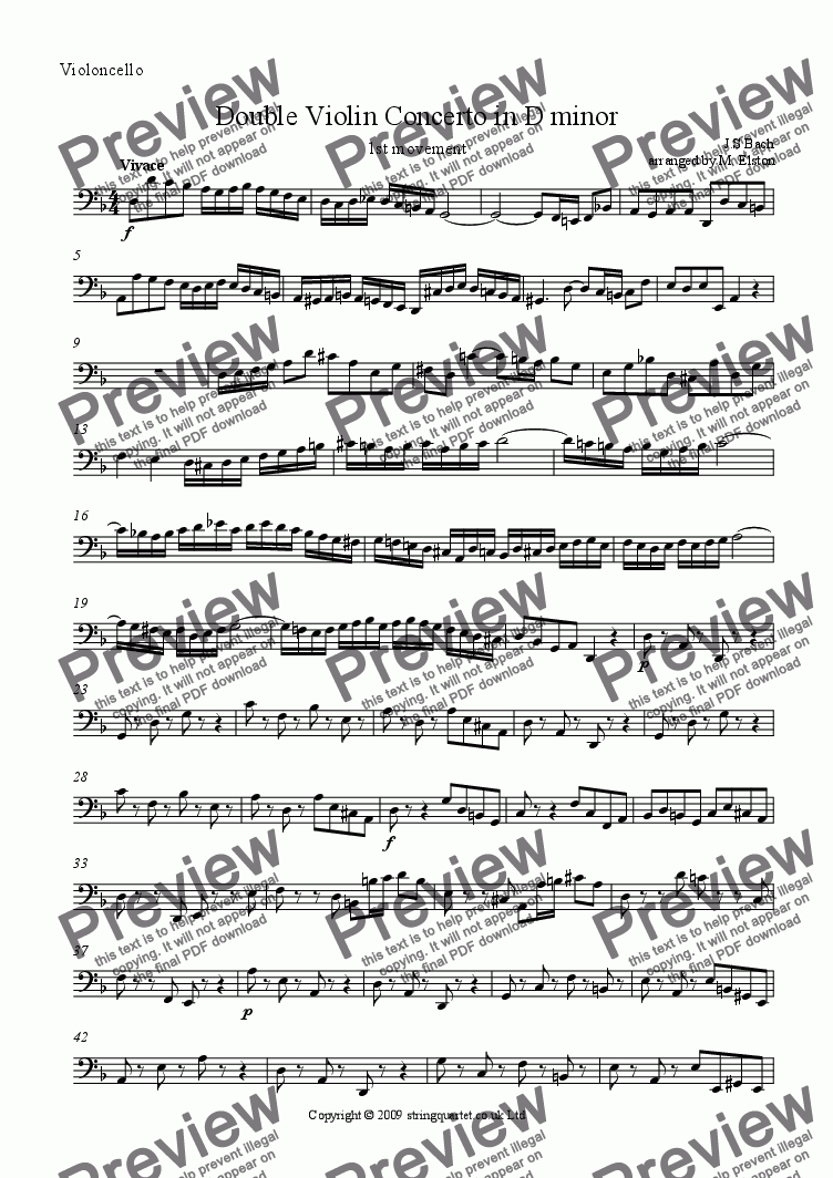page one of the Violoncello part from Double Violin Concerto in D minor BWV 1043 (1st movement)