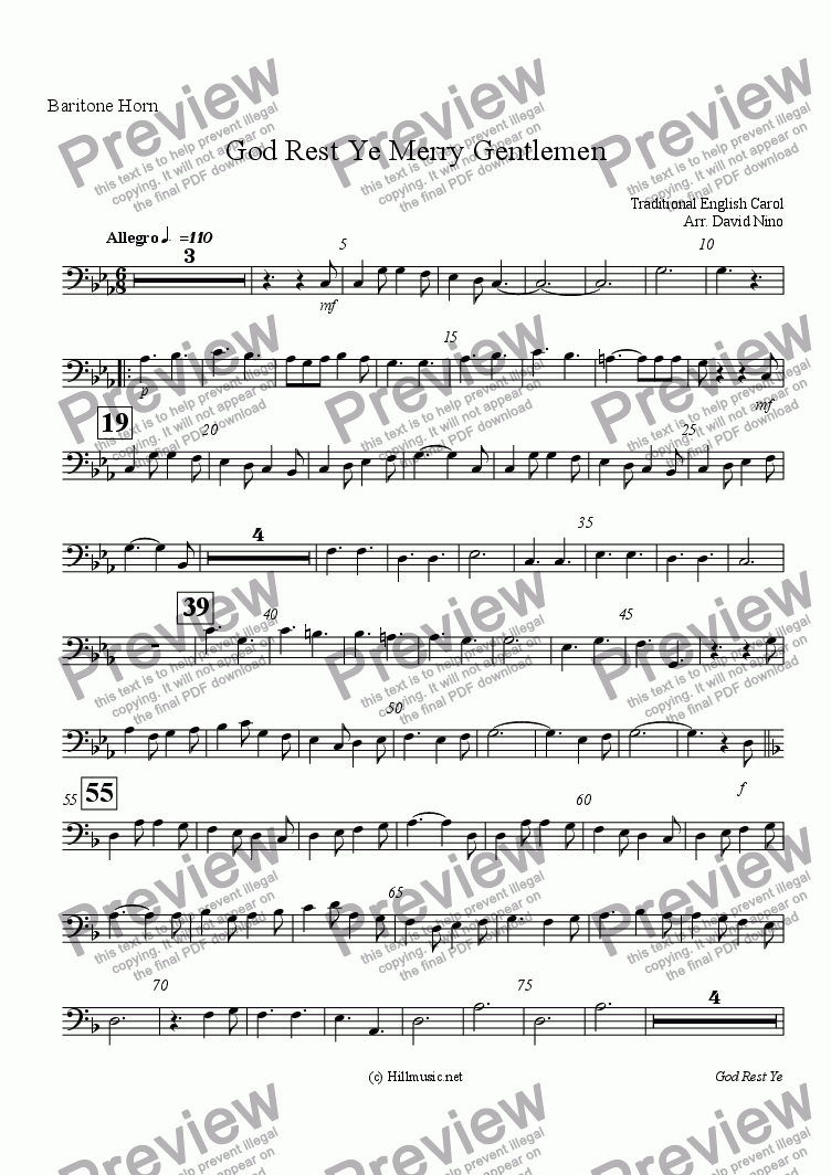 page one of the Baritone Horn part from God Rest Ye Merry Gentlemen