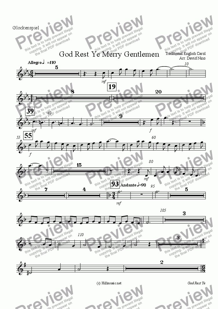 page one of the Glockenspiel part from God Rest Ye Merry Gentlemen