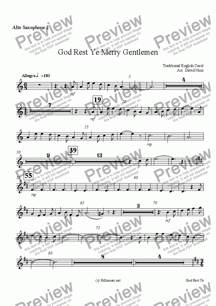 page one of the Alto Saxophone 2 part from God Rest Ye Merry Gentlemen