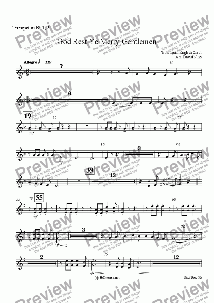 page one of the Trumpet in B^b 1, 2 part from God Rest Ye Merry Gentlemen
