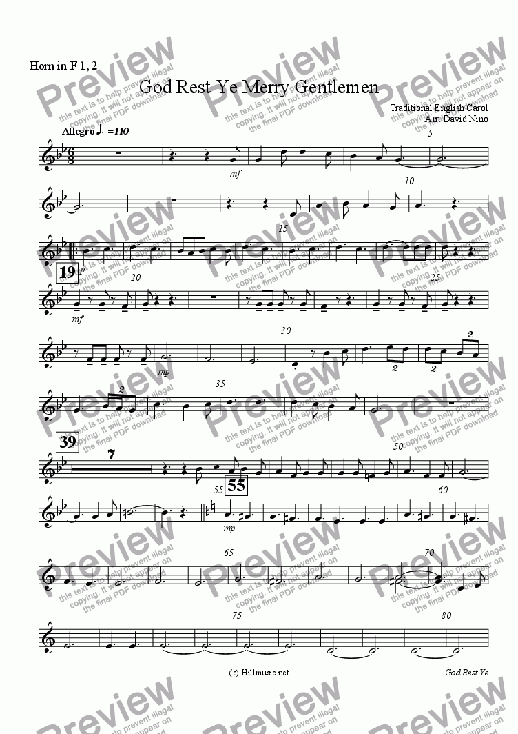 page one of the Horn in F 1, 2 part from God Rest Ye Merry Gentlemen