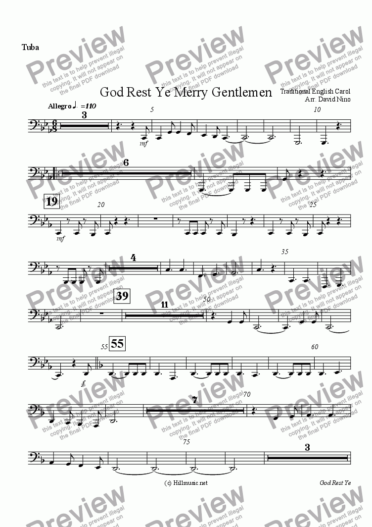 page one of the Tuba part from God Rest Ye Merry Gentlemen