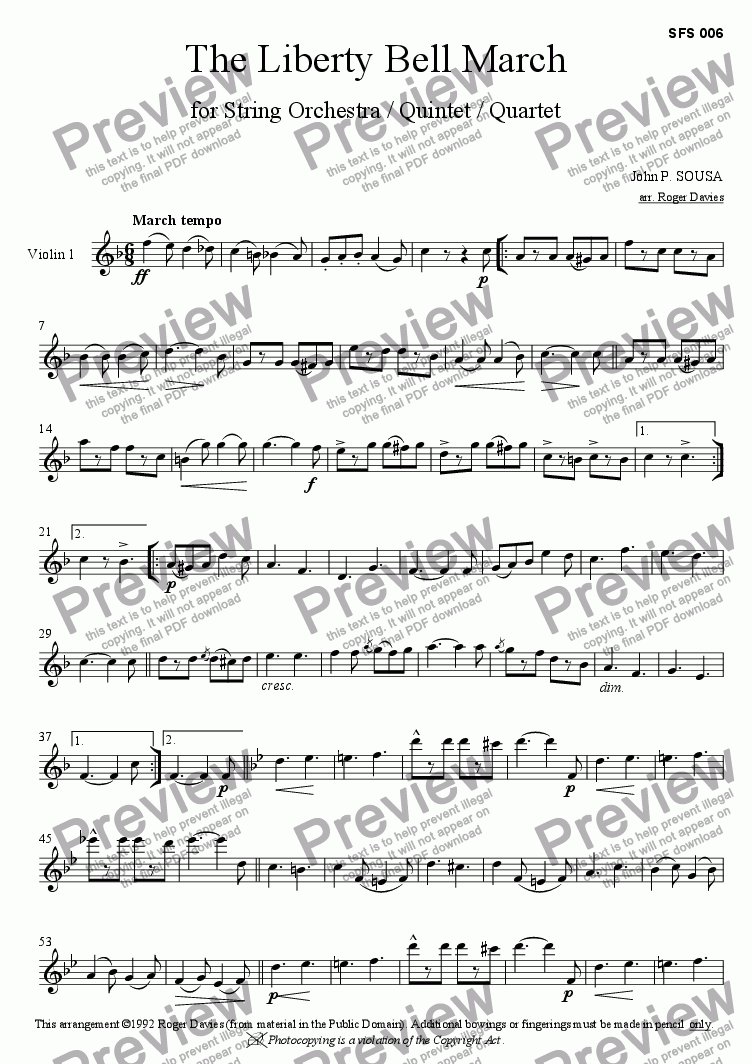 page one of the Violin 1 part from The Liberty Bell March