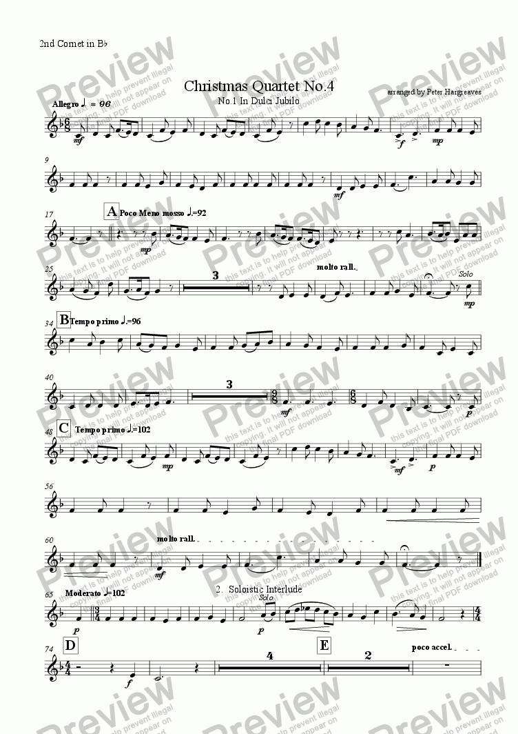 page one of the 2nd Cornet in B^b part from Christmas Quartet No.4