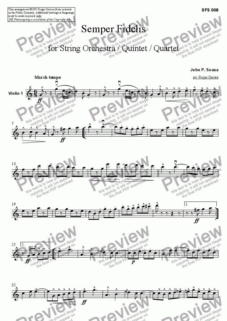 page one of the Violin 1 part from Semper Fidelis