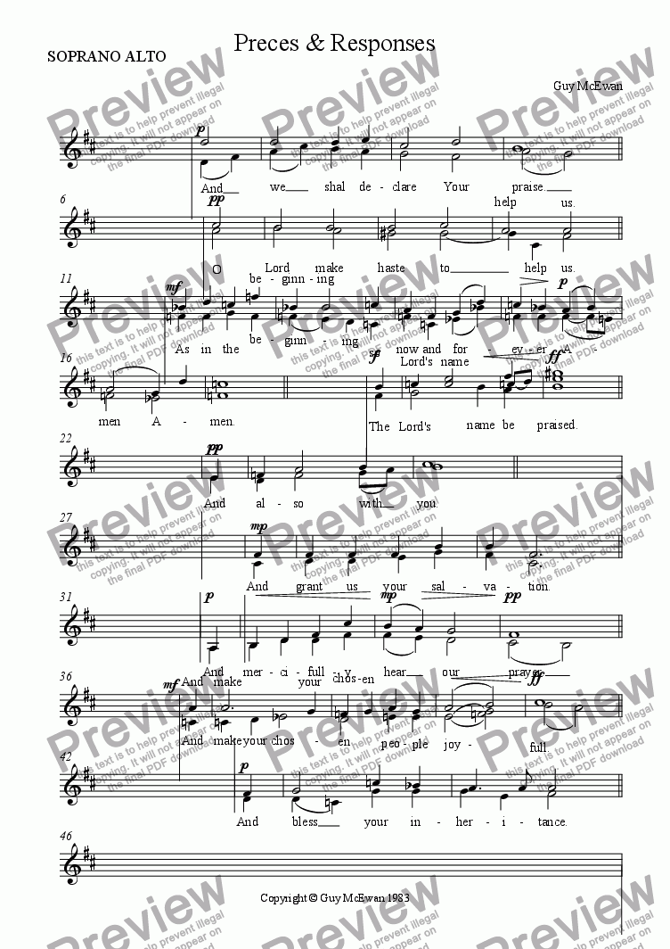 page one of the SOPRANO ALTO part from Preces & Responses