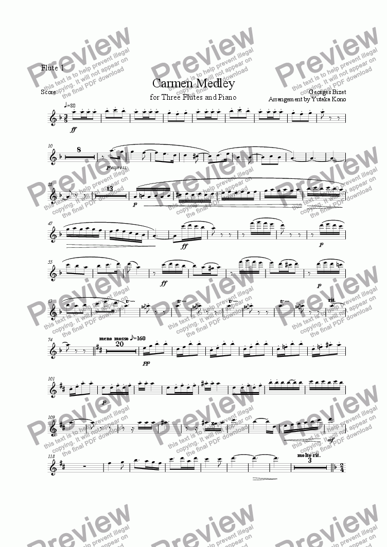 page one of the Flute 1 part from Carmen Medley