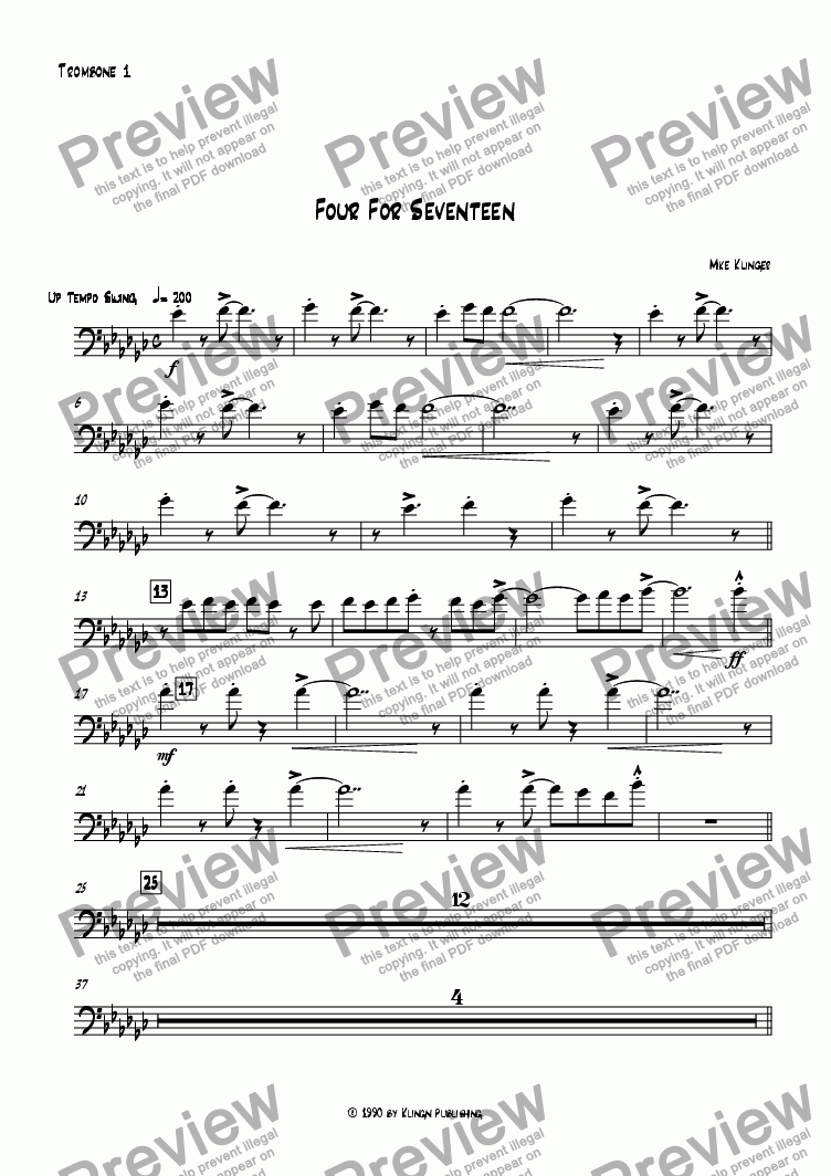 page one of the Trombone 1 part from Four For Seventeen
