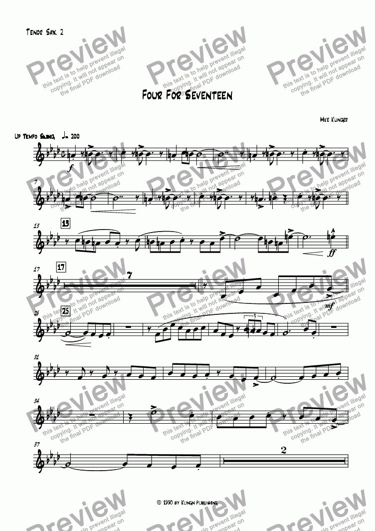 page one of the Tenor Sax. 2 part from Four For Seventeen