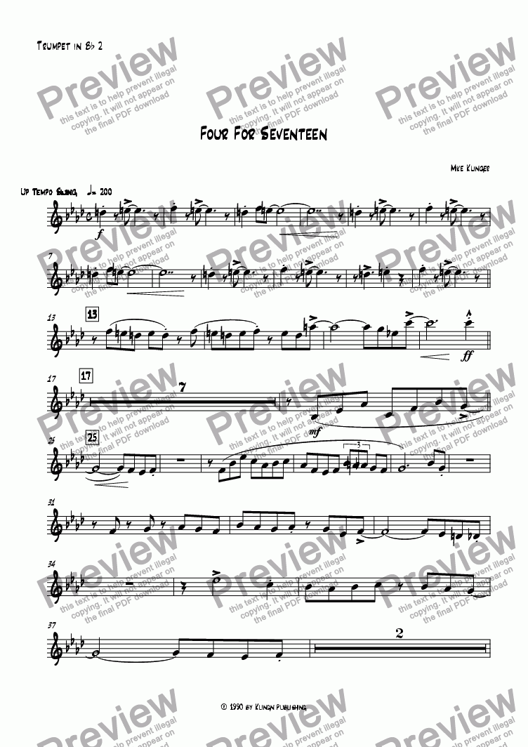 page one of the Trumpet in B^b 2 part from Four For Seventeen