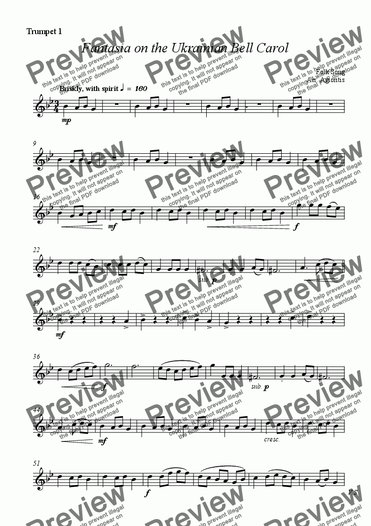 page one of the Trumpet 1 part from Fantasia on the Ukrainian Bell Carol - Brass Quartet