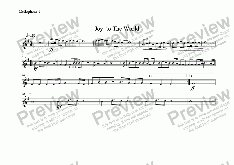 page one of the Mellophone 1 part from Joy  to The World