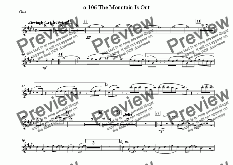 page one of the Flute part from 106 The Mountain Is Out