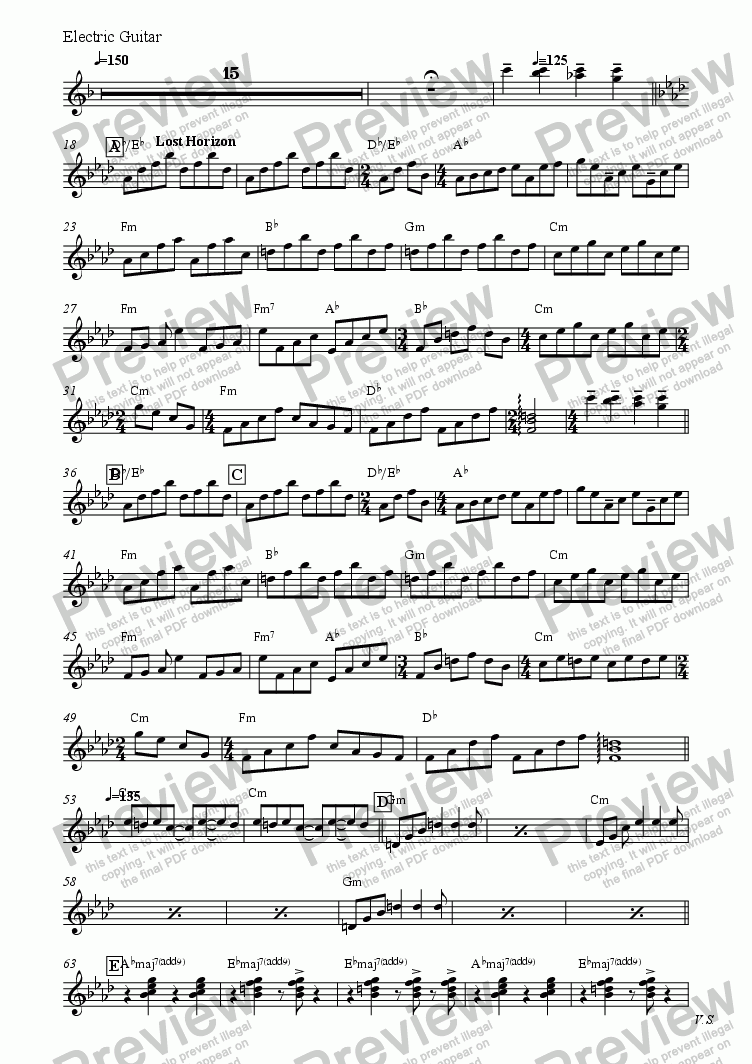page one of the Electric Guitar part from BACHARACH MEDLEY