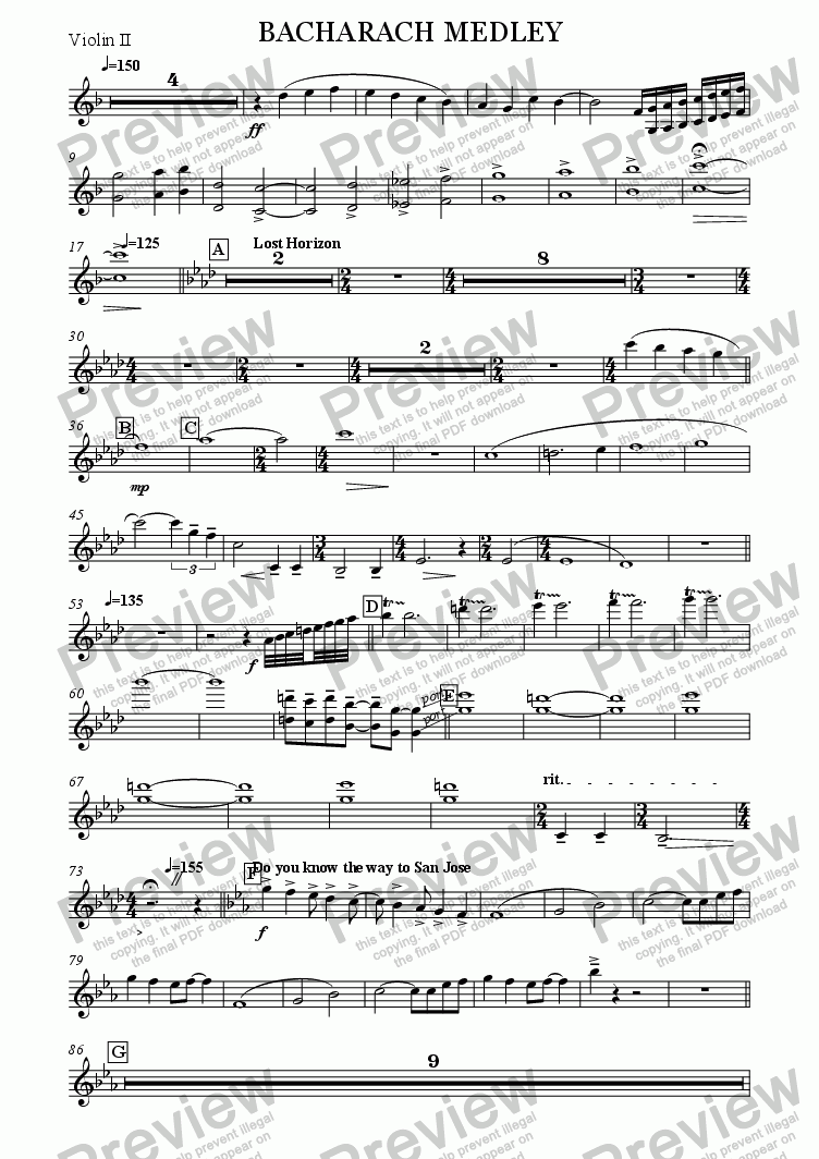 page one of the Violin II part from BACHARACH MEDLEY
