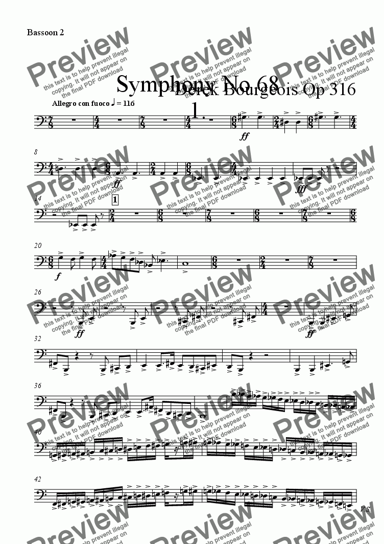 page one of the Bassoon 2 part from Symphony No 68 1st mvt