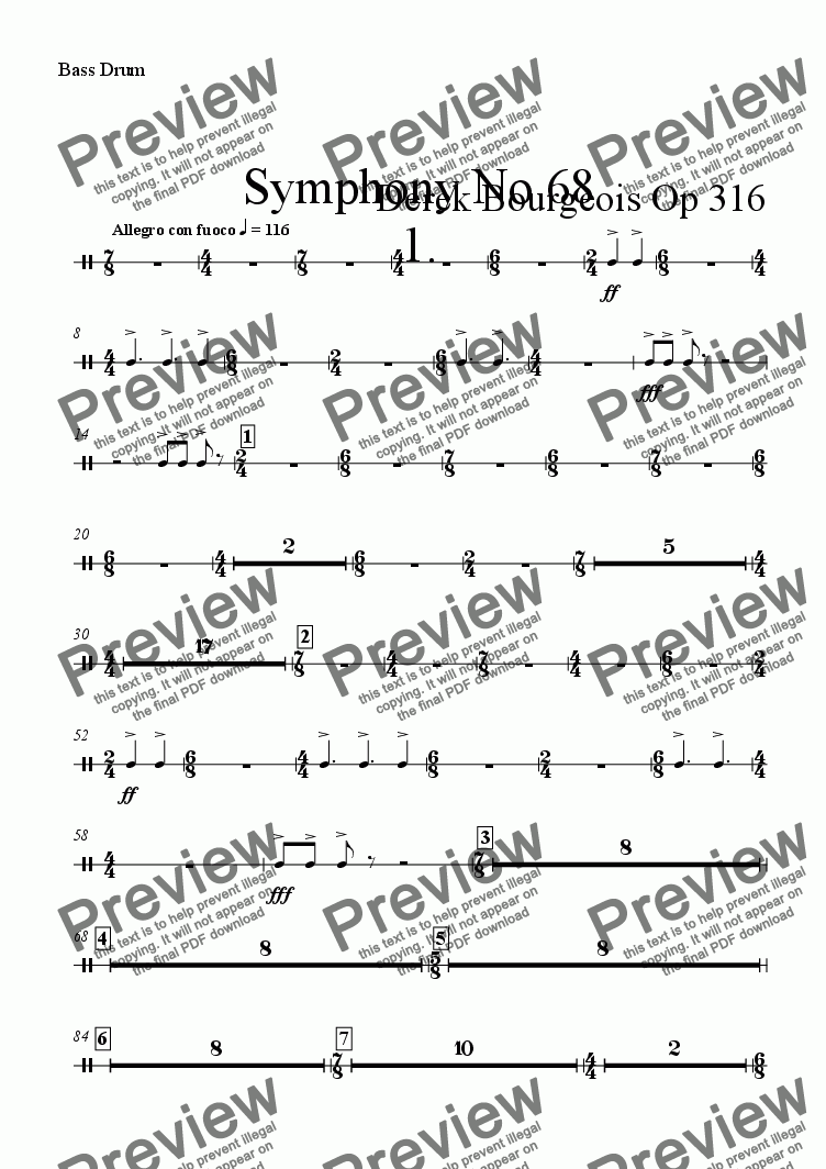 page one of the Bass Drum part from Symphony No 68 1st mvt