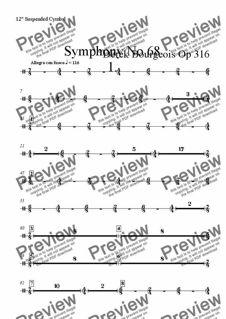 "page one of the 12"" Suspended Cymbal part from Symphony No 68 1st mvt"