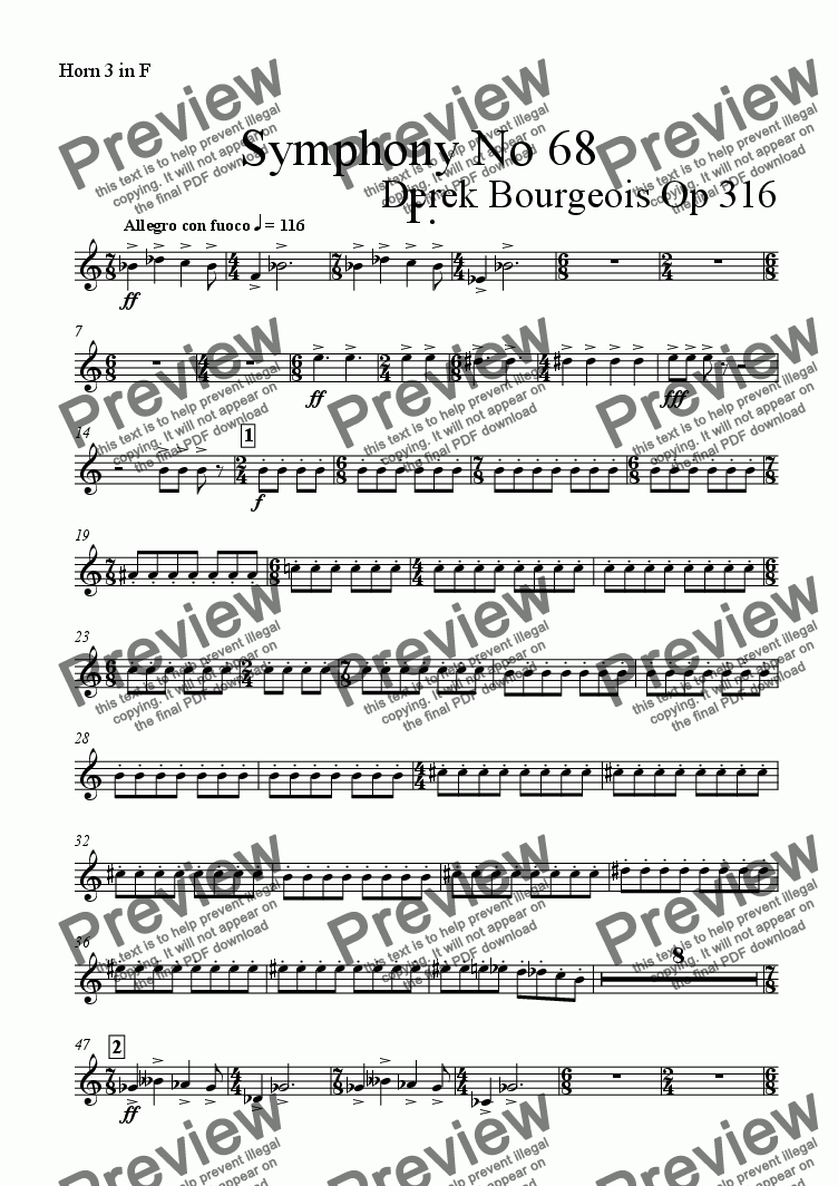 page one of the Horn 3 in F part from Symphony No 68 1st mvt