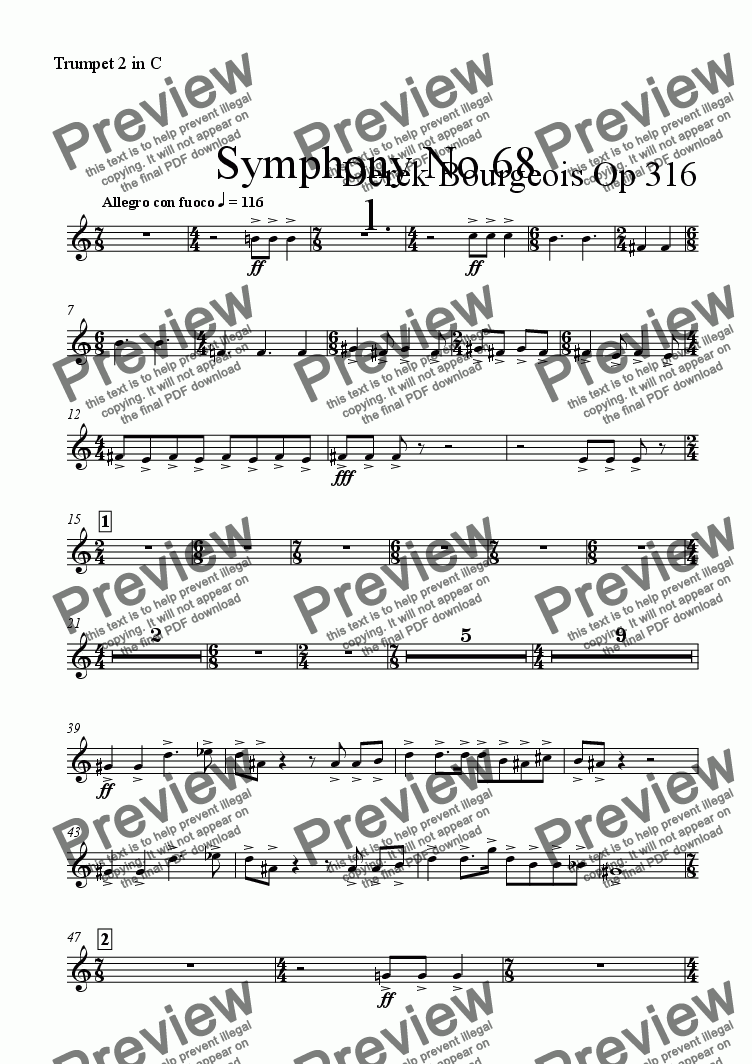 page one of the Trumpet 2 in C part from Symphony No 68 1st mvt