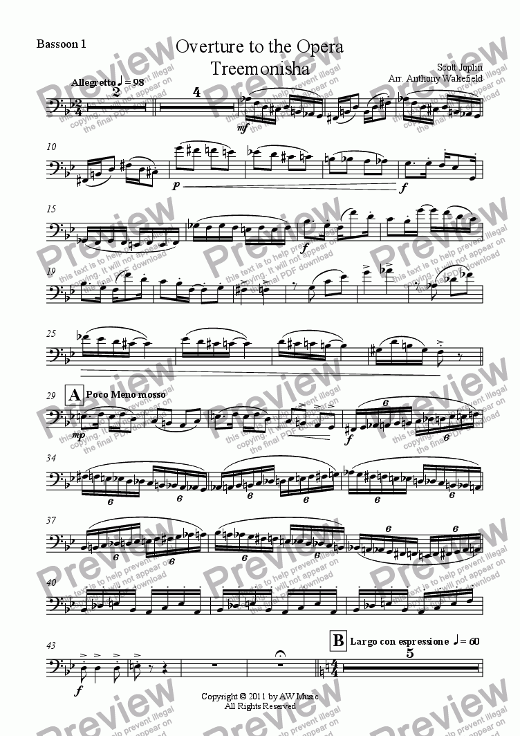 page one of the Bassoon 1 part from Overture - Treemonisha