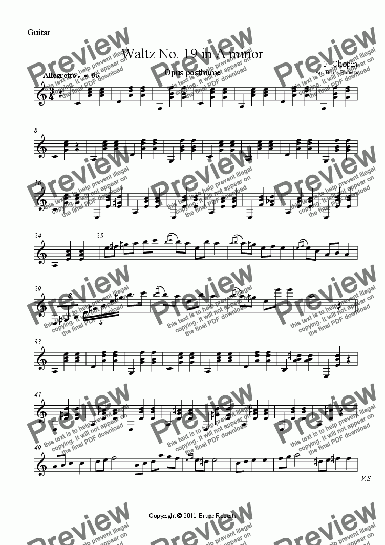 page one of the Guitar part from CHOPIN: Waltz No. 19 in A minor (Flute & Guitar)
