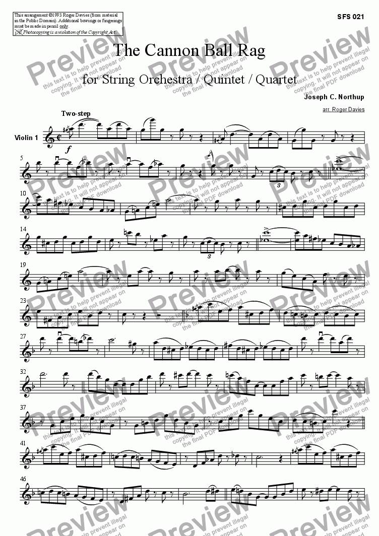 page one of the Violin 1 part from The Cannon Ball Rag