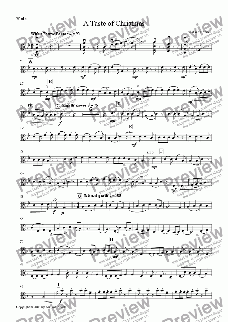 page one of the Viola part from A Taste of Christmas