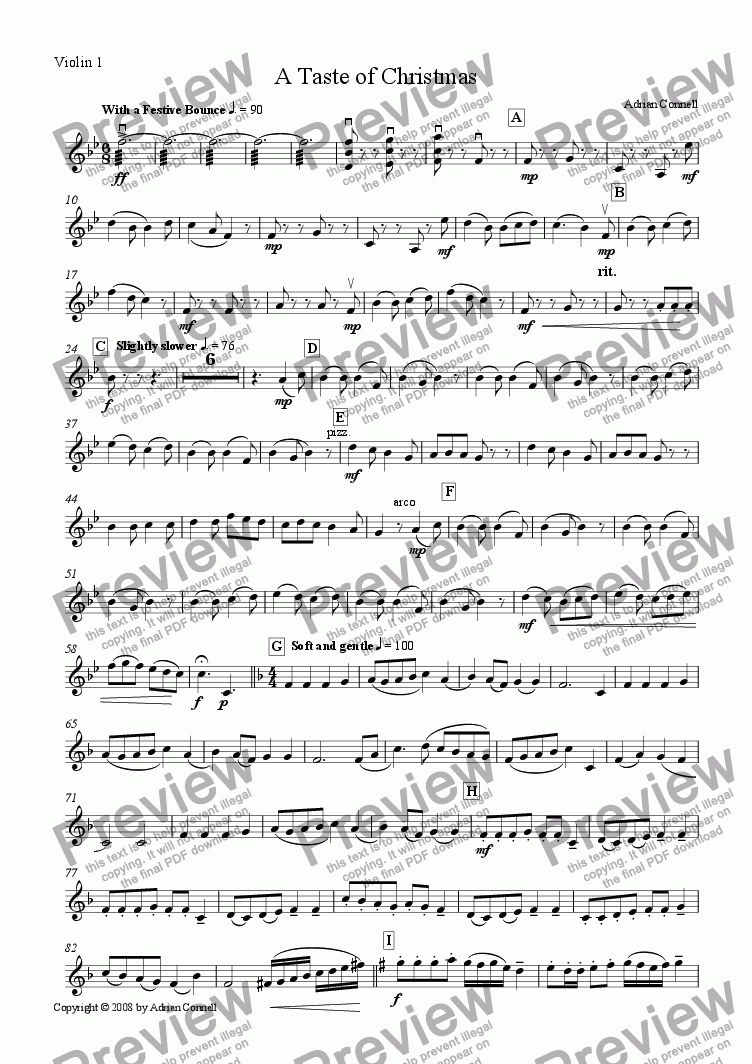 page one of the Violin 1 part from A Taste of Christmas