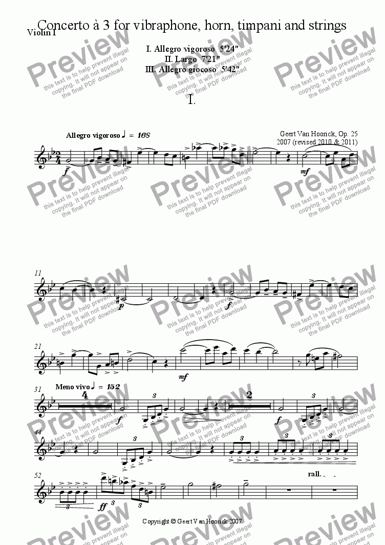 page one of the Violin I part from Concerto for vibraphone, horn, timpani and strings - I Allegro vigoroso