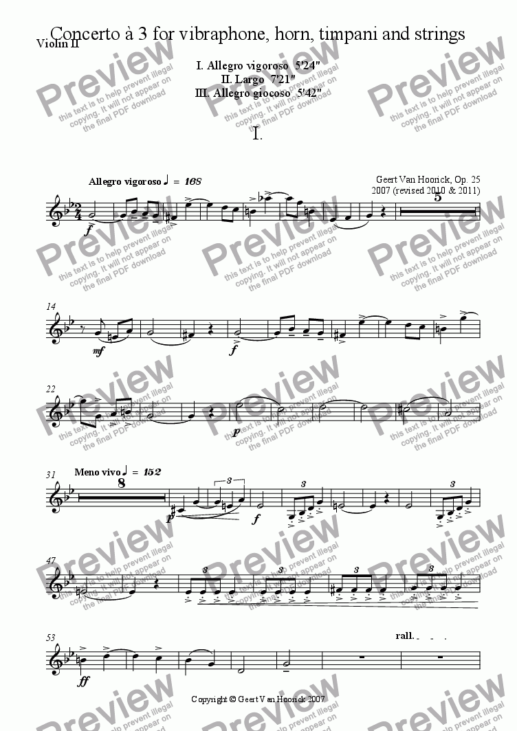 page one of the Violin II part from Concerto for vibraphone, horn, timpani and strings - I Allegro vigoroso