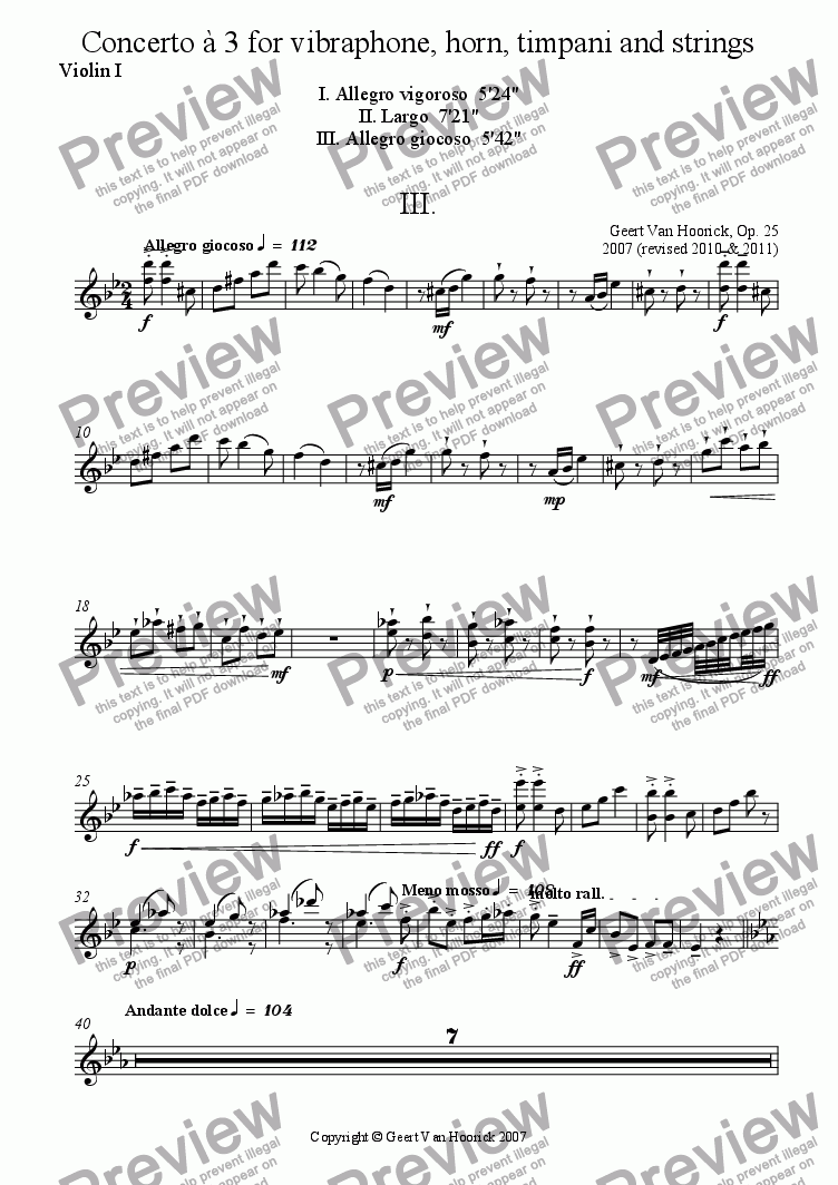 page one of the Violin I part from Concerto for vibraphone, horn, timpani and strings - III Allegro giocoso