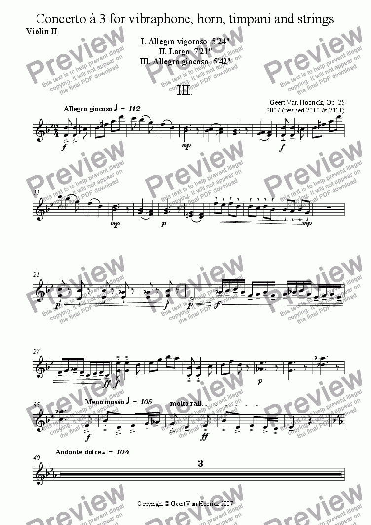 page one of the Violin II part from Concerto for vibraphone, horn, timpani and strings - III Allegro giocoso