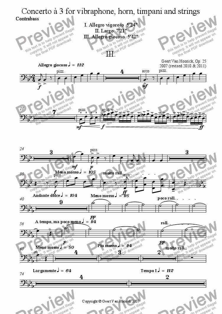 page one of the Contrabass part from Concerto for vibraphone, horn, timpani and strings - III Allegro giocoso
