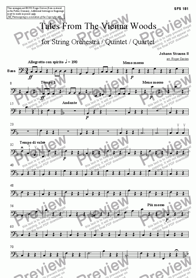 page one of the Bass part from Tales From The Vienna Woods