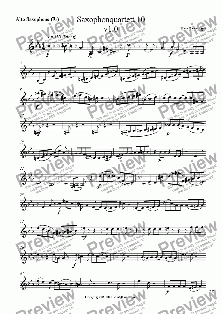 page one of the Alto Saxophone (E^b) part from Saxophone quartet 10