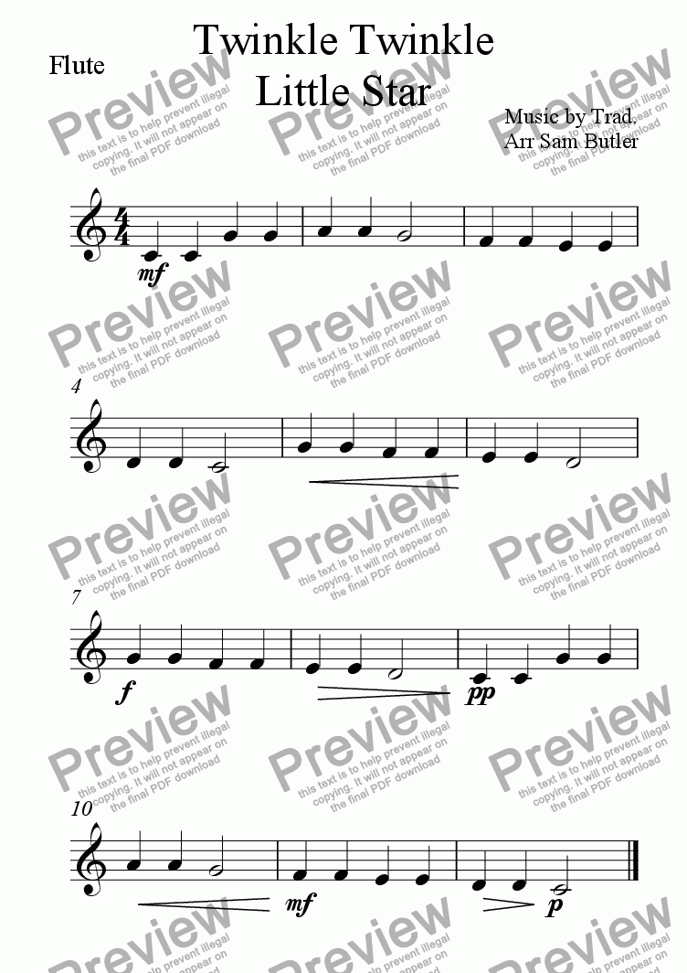 page one of the Flute part from Twinkle Twinkle Little Star