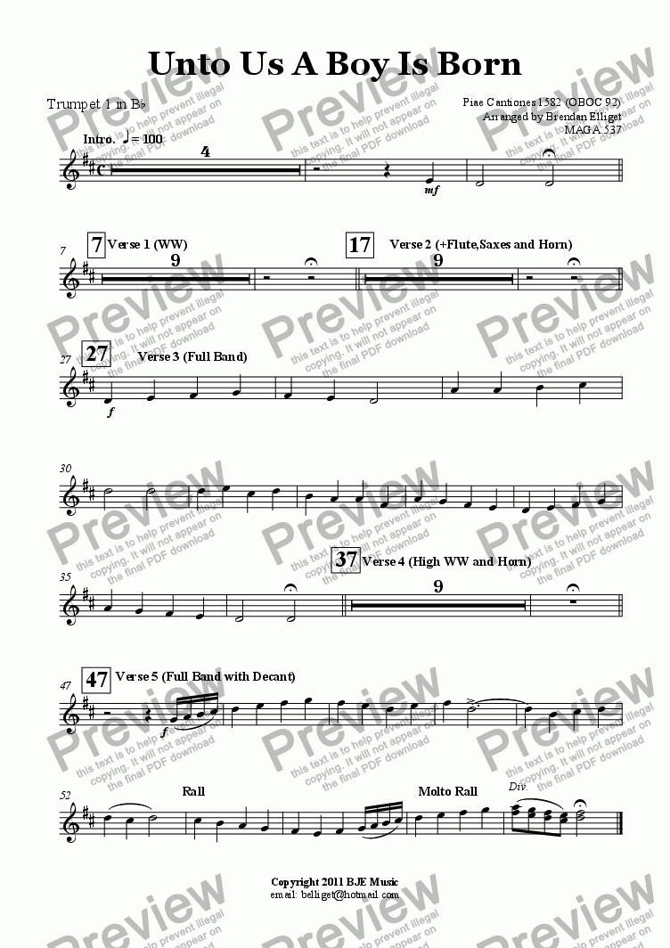 page one of the Trumpet 1 in B^b part from Unto Us A Boy Is Born (Christmas) - Concert Band