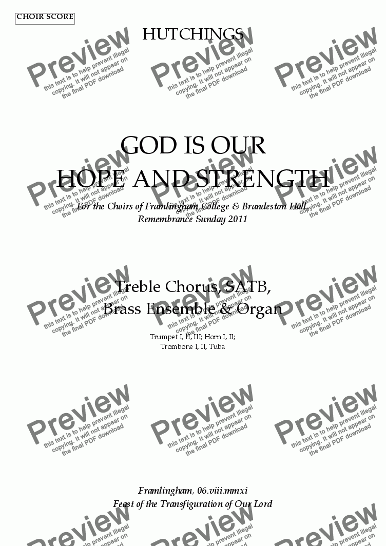 page one of the Tpt I Tpt II Tpt III part from Op.65 - God is our hope and strength [S/SATB, Brass, Organ]