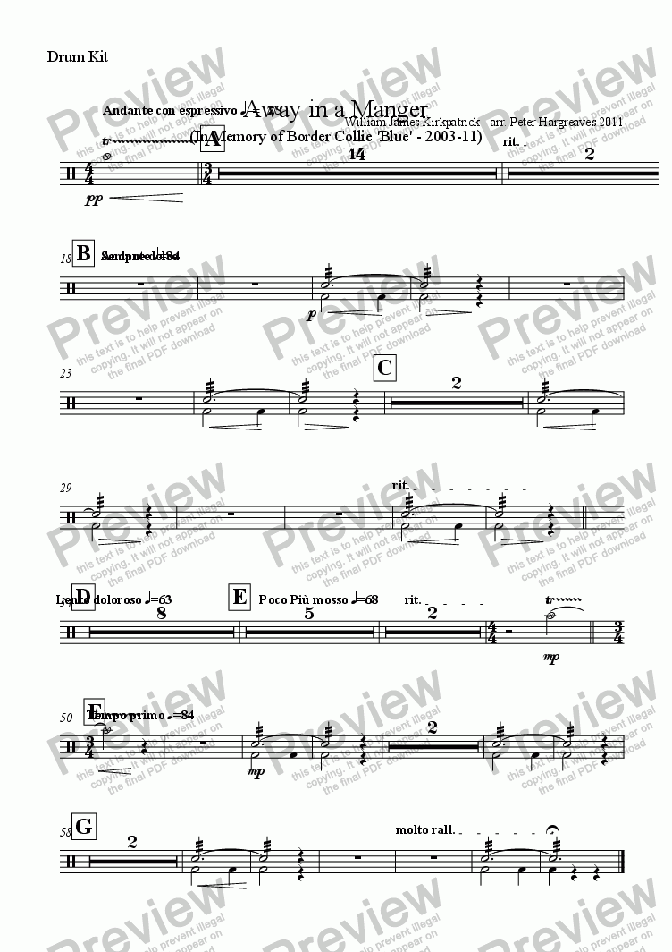 page one of the Drum Kit part from Away in a Manger