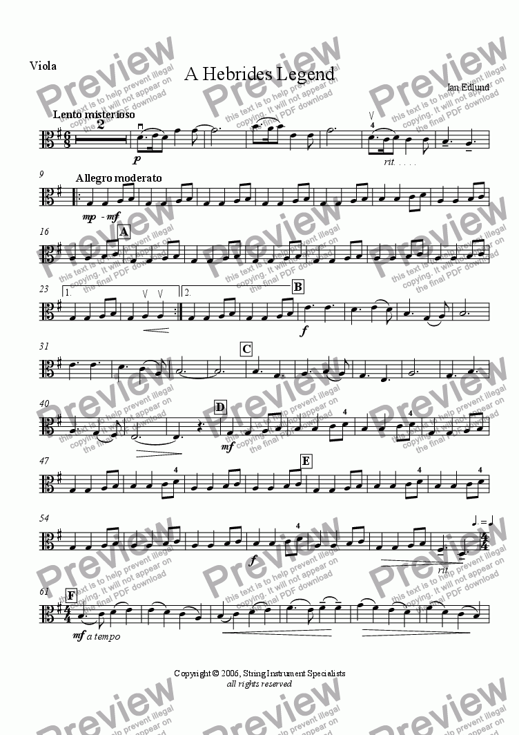 page one of the Viola part from A Hebrides Legend