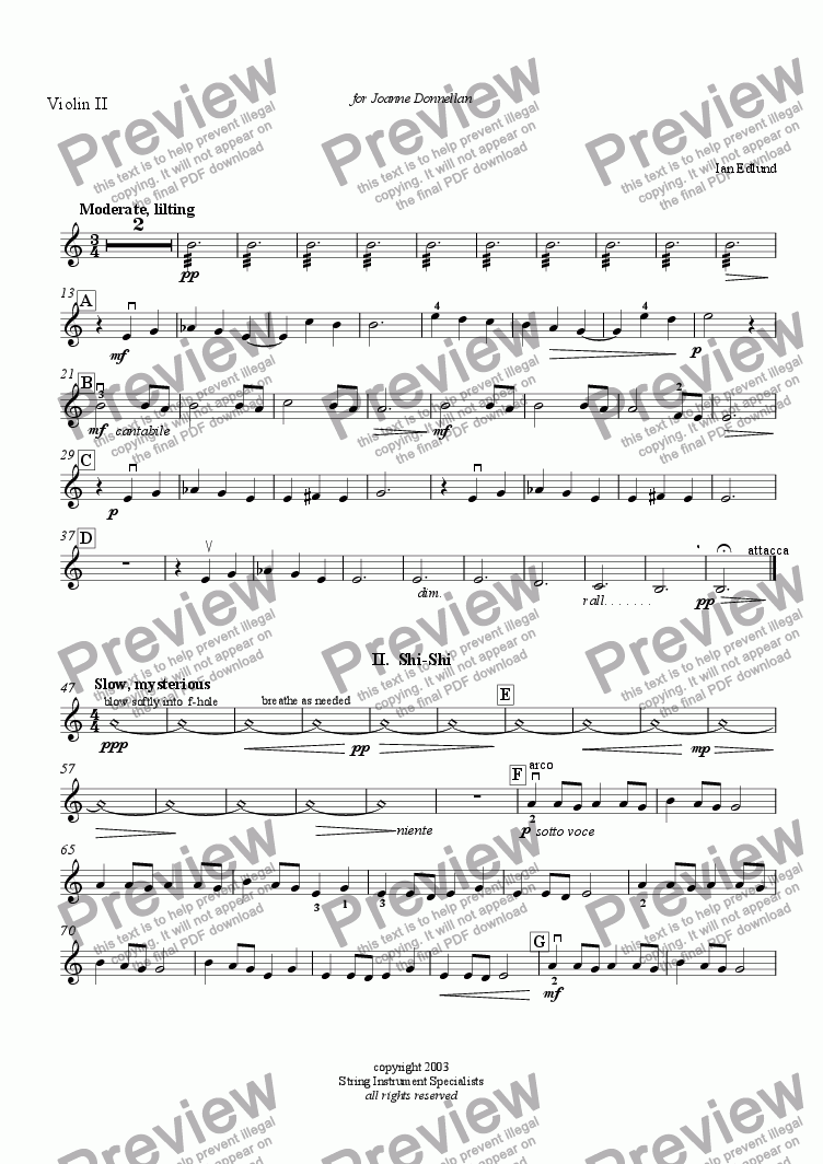page one of the Violin II part from An Olympic Trilogy