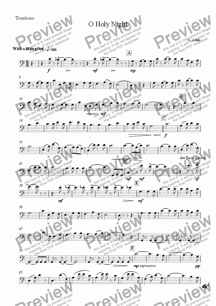 page one of the Trombone part from O Holy Night (for Brass Quintet)