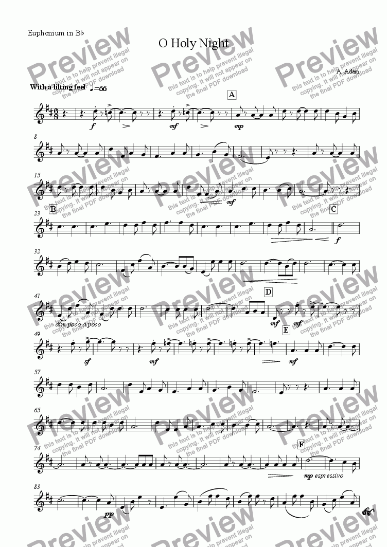 page one of the Euphonium part from O Holy Night (for Brass Quintet)