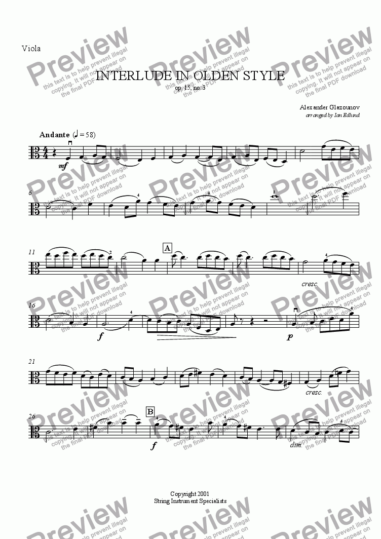 page one of the Viola part from Interludium in Olden Style