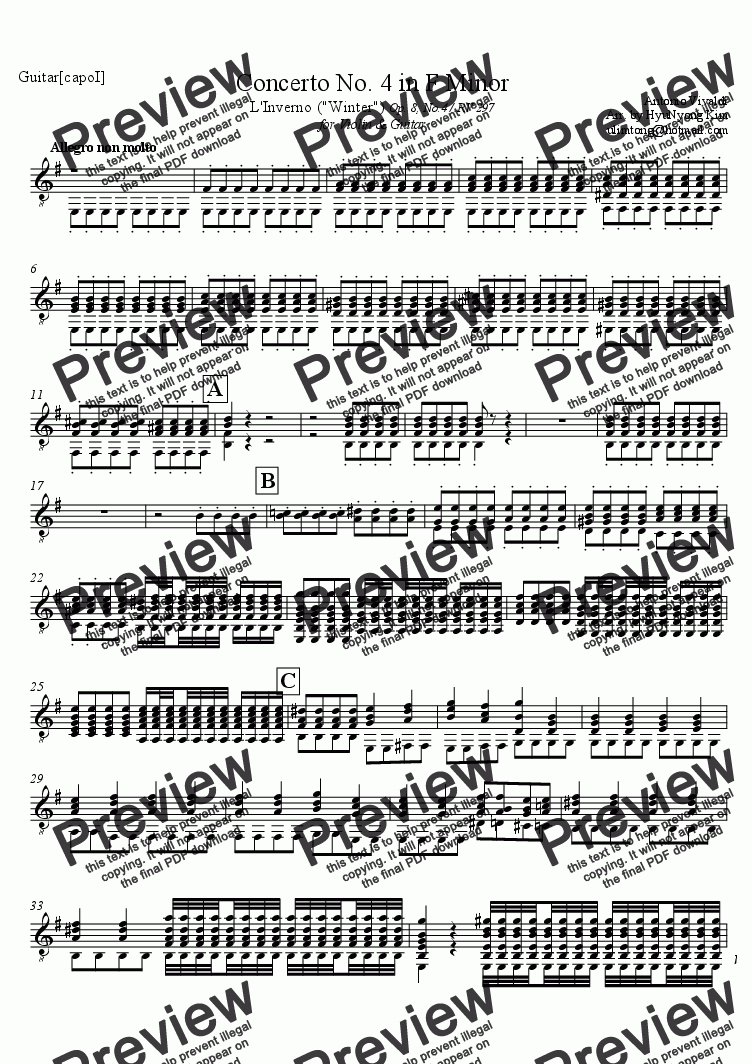page one of the Guitar part from Winter 1st Movement from the Four seasons.